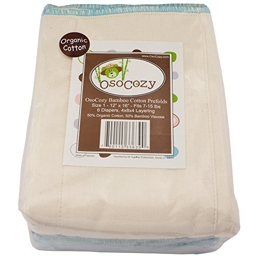 Osocozy Bamboo Organic Cotton Prefolds - 6 Pack (Infant Short 4x8x4 (7-15lbs))