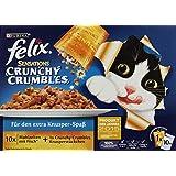 Felix Sensations Crunchy Crumbles Katzenfutter Fisch Mix, 30 Beutel (30 x 100 g + 120 g)