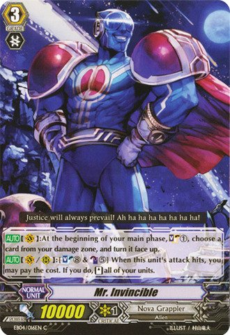 Cardfight!! Vanguard Tcg - Mr. Invincible (Eb04/016En) - Extra Booster Pack 4: Infinite Phantom Legion front-695669