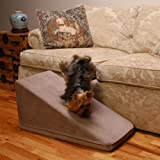 PuppyStairs Standard 1-Piece Dog Ramp Camel Suede All covers are removable, machine washable; Foam is Industrial grade high-density foam, which firmly supports Pets up to 60 pounds.
