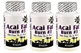 ACAI Fat Burn #3  (3 Bottles) all Pure Diet Pill with Green Tea, Grapefruit, Apple Cider, and more for Weight Loss and fat burning