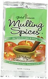 Global Treasures Mulling Spices for Spiced Cider & Wine, 1.5-Ounce Packages (Pack of 24)