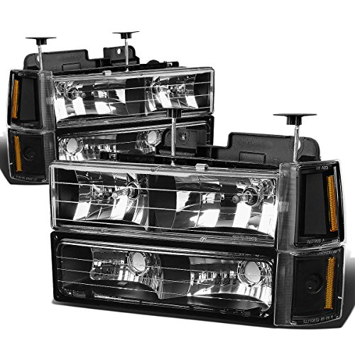 GMC C/K-Series 8pc Headlight+Corner+Bumper Light Assembly (Black Housing Amber Reflector) (Headlight Assembly Gmc Yukon compare prices)