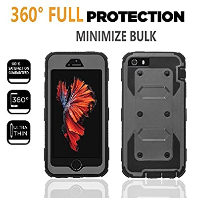 iPhone 5 Case, iPhone 5s Case, [SUPER GUARD] Dual Layer Hybrid Protective Cover With [Built-in Screen Protector] Holster Locking Belt Clip+Circle(TM) Stylus Touch Screen Pen And Screen Protector by CircleMalls