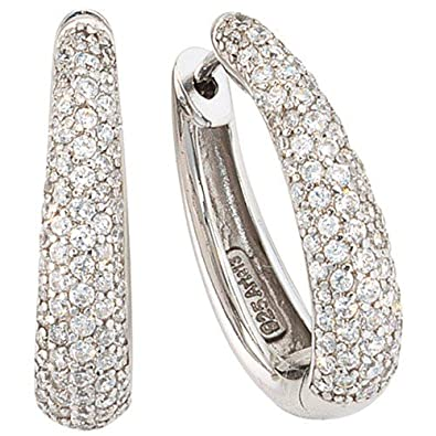 Sterling Silver Oval Creole Earrings Zirconia 925 Sterling Silver Creole Earrings with CZs
