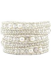 Chan Luu Cream Pearl Mix Graduated Wrap Bracelet on Pearl Leather