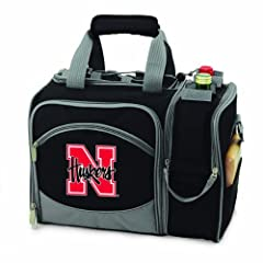 NCAA Nebraska Cornhuskers Malibu Picnic Tote with Deluxe Picnic Service for Two by Picnic Time