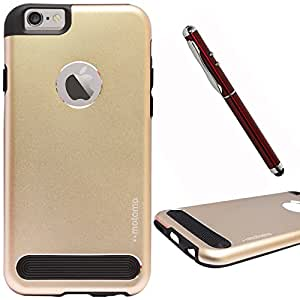 DMG Motomo Ultra Tough Metal Shell Case with Side TPU Protection for Apple iPhone 6 Plus (Gold) + 4in1 Laser Torch Stylus Pen
