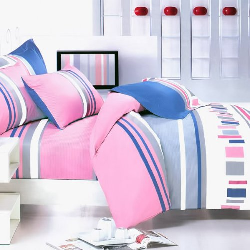 Blancho Bedding - [Pink Abstract] 100% Cotton 4PC Comforter Cover/Duvet Cover Combo (King Size)