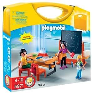 Playmobil - 5971 - Jeu de construction - Valisette maîtresse et élèves