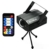 GlowGeek Led party 7 colors lights Projector Strobe Lights Disco Party Halloween Christmas Festival Lighting Light 9-watt Ocean Moving Special Effect with Remote(Matte Black)