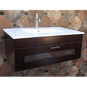 36 Inch Bathroom Wall Mount Vanity Cabinet with Ceramic Top integrated Sink