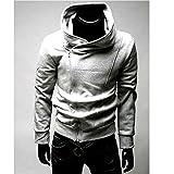 メンズ ジャケット 斜め ジップ アップ フード 付き 長袖 ライダース パーカー トレーナー スウェット ライトグレイ 薄手だけど裏起毛で暖かい XL