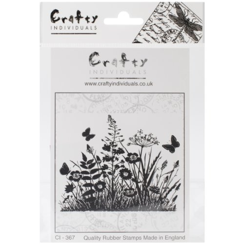 crafty-individuals-unmounted-rubber-stamp-475-inch-x-7-inch-wild-flowers-and-butterflies