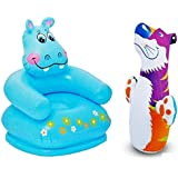 Param Intex Inflatable PVC Hippo Animal Chair With Intex Inflatable PVC Hit Me Tiger 3D BOP Bag