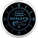 ncpf0175-b WESLEY'S Famous Guitar Lounge Beer Pub LED Neon Sign Wall Clock