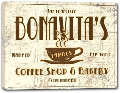 BONAVITA'S Coffee Shop & Bakery Stretched Canvas Print