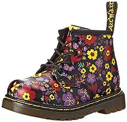 Dr. Martens Brooklee B 4 Eye Lace Boot (Infant),Black Vintage Garden,5 M UK/6 M US Infant