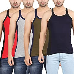 Zippy Men's Cotton DESIGNER Solid Multicolor Sleeveless Vest (Pack of 4)