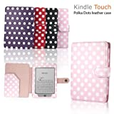 """eLifeStore� Stylish Polka Dot Kindle Touch / Kindle Paperwhite PREMIUM Leather Case Flip Cover Wallet with Magnetic Flap Closure for New 2012 Amazon Kindle Touch / Kindle Paperwhite Wi-Fi 3G 6"""" inch - Book Style (Pink and White Polka Dot)by SAVFY"""