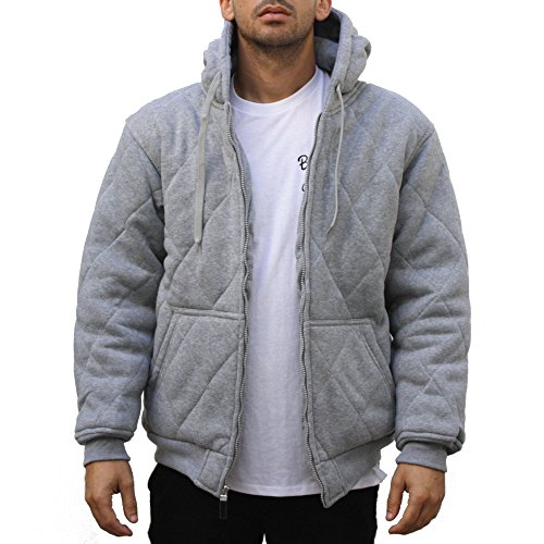Maxxsel Mens Quilted Hoody Thermal Lined Zip Up Fleece Jacket (X-Large, Heather Gray) (Quilted Thermal Jacket compare prices)
