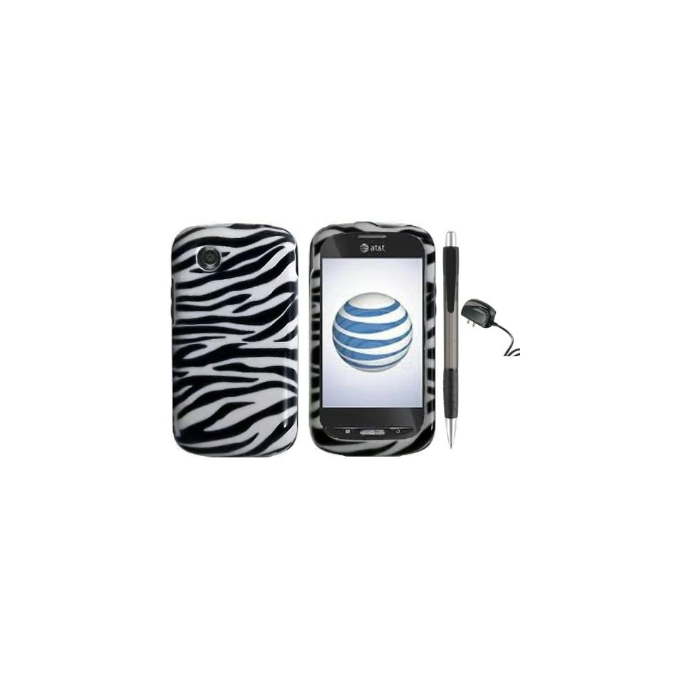 Black White Zebra Design Protector Hard Cover Case for ZTE Avail Z990 (AT&T) + Luxmo Brand Travel (Wall) Charger + Bonus 1 of New Rubber Grip Translucent Ball Point Pen
