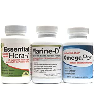 Health Support Pack - Marine D3, OmegaFlex, Essential Flora-7 - Health Supplements - Great Value - One Month Supply of Immune Support and Energizing Supplements