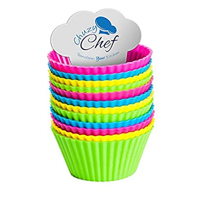 Reusable Silicone NonStick Baking Cups- Assorted Colors Cupcake Holder Set- 24 Pieces by Chuzy Chef®