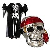 【海賊パイレーツコスプレ】大人用 スカル骸骨マスク&ポンチョ120cmフリー