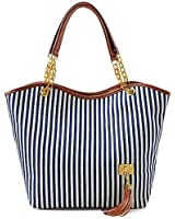 Hunnt Tobey New Fashion Stripe Design Women Street Snap Candid Tote Single Shoulder Canvas Bag Handbag Three Colors Available Red Blue Black (Blue)