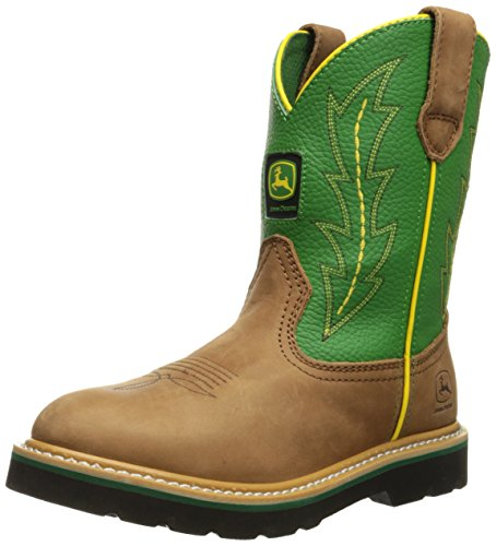 John Deere 3186 Western Boot (Little Kid/Big Kid),Tan/Green,4 M US Big Kid