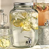 Yorkshire Clear Glass Sun Tea Mason Jar Beverage / Drink Dispenser with Metal Lid and Chrome Plastic Spigot, 2 Gallon