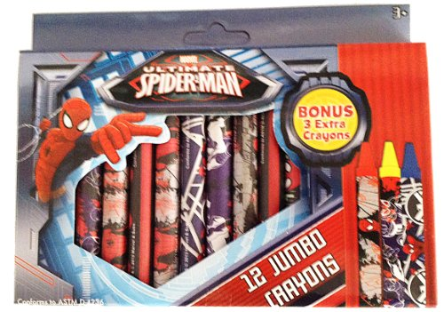 Ultimate Spider-Man 12 Jumbo Crayons by Marvel Comic - 1
