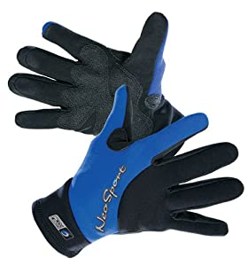 NeoSport Wetsuits Premium 2mm Neoprene Glove , Blue Trim, X-Small - Diving, Snorkeling & Waterskiing