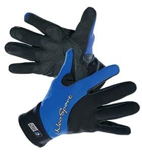 NeoSport Wetsuits Premium 2mm Neoprene Glove , Blue Trim, X-Small - Diving, Snorkeling & Waterskiing