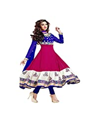 G & S Fashion Women's Georgette Zari Work Pink&Blue Anarkali Suit.
