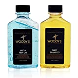Woodys Quality Grooming Power Duo 2 Piece Set Include: 2.5 Oz Daily Shampoo + 2.5 Oz Mega Firm Gel