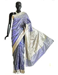 Purple Pashmina Silk Saree with All-Over Design from Banaras with Brocade Border and Pallu - Silk