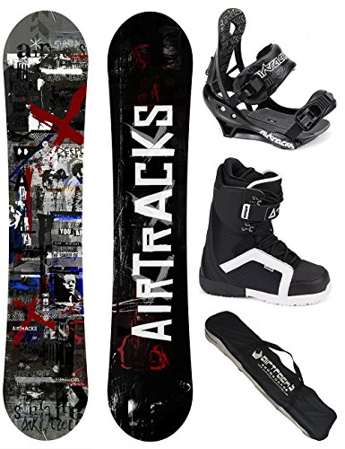 AIRTRACKS SNOWBOARD KOMPLETT SET / CROUD SNOWBOARD WIDE FLAT ROCKER + BINDUNG SAVAGE + BOOTS + SB BAG / 155 159 163 165 / cm