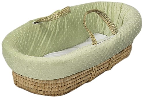 Baby Doll Heavenly Soft Doll Moses Basket Set, Sage