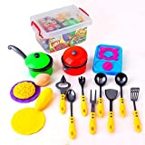 Kidcia Plastic Little Chefs Toys Cookware Playset with Cooking Utensils 18 Pcs Toy Pots and Pans Play Kitchens for Toddlers