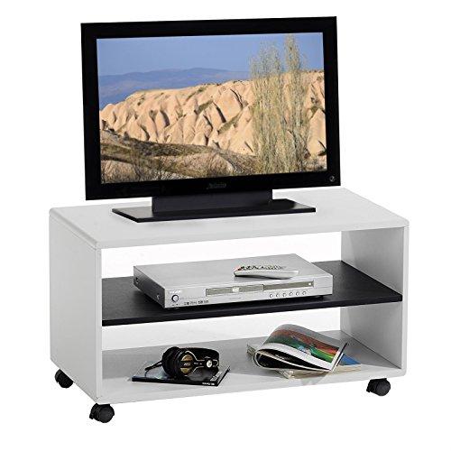 TV-Mbel-TV-Rack-Lowboard-Fernsehtisch-TV-Tisch-TV-Element-ATLANTA-wei-schwarz-mit-Rollen