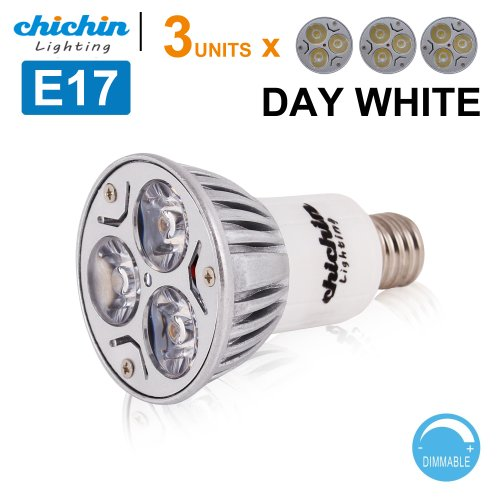 ChiChinLighting E17 Bulb E17 Type R Reflector R14 LED Bulb 3x3w Spotlight E17 LED DIMMABLE PACK OF 3 units 30 Degree Lighting Cool White (40w Type R Bulb compare prices)