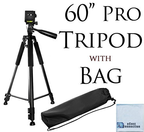 60″ Pro Series Professional Camera Tripod for Canon, Nikon, Sony, Samsung, Olympus, Panasonic & Pentax + eCost Microfiber Cloth