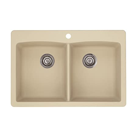Blanco 441217 Diamond Double-Basin Drop-In Granite Kitchen Sink, Biscotti