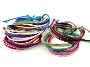 New 10pcs Wholesale Mens/Women Strap Surf Coloured Cords Leather Bracelet Wristband