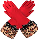 RED GLOVEABLES, LEOPARD TRIM, BLACK BOW