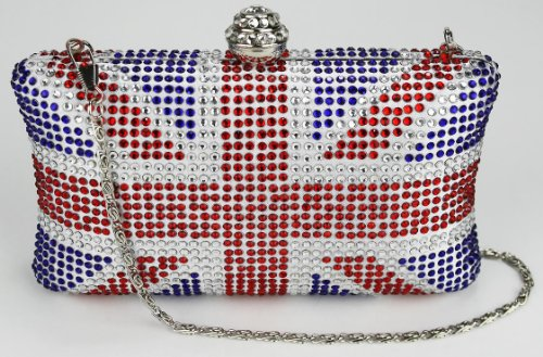 Womens Union Jack Box Diamantes Clutch Evening Bag - KCMODE