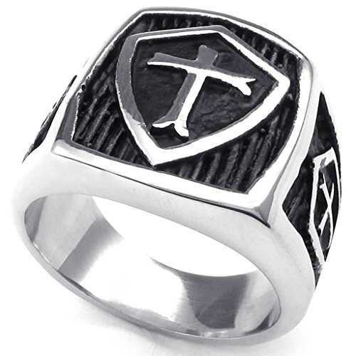 gnzoe-jewelrymens-stainless-steel-rings-bands-hield-cross-silver-black-retro-size-z-2