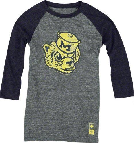 Michigan Wolverines adidas Originals Women's Vintage Mascot 3/4 Sleeve Tri-Blend T-Shirt
